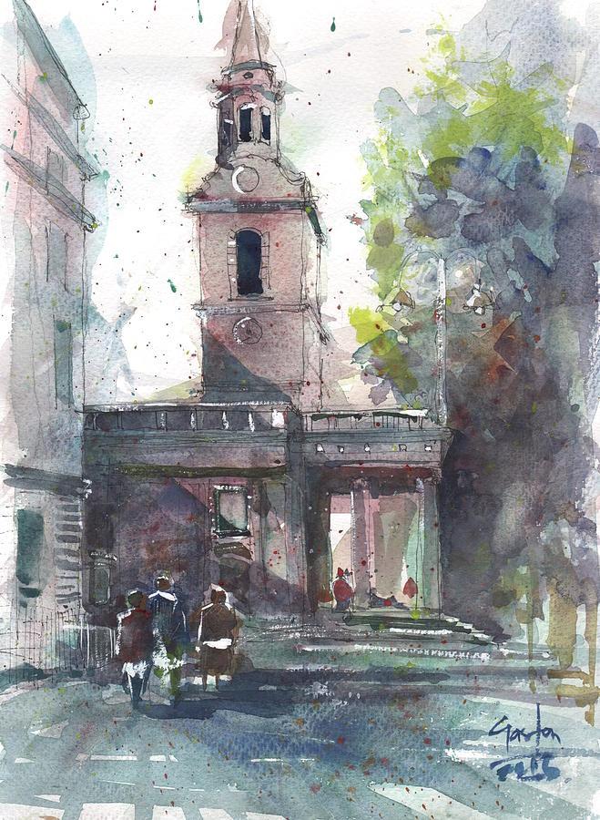 Church Painting - St Martins In The Field Adjacent Trafalgar Square London by Gaston McKenzie