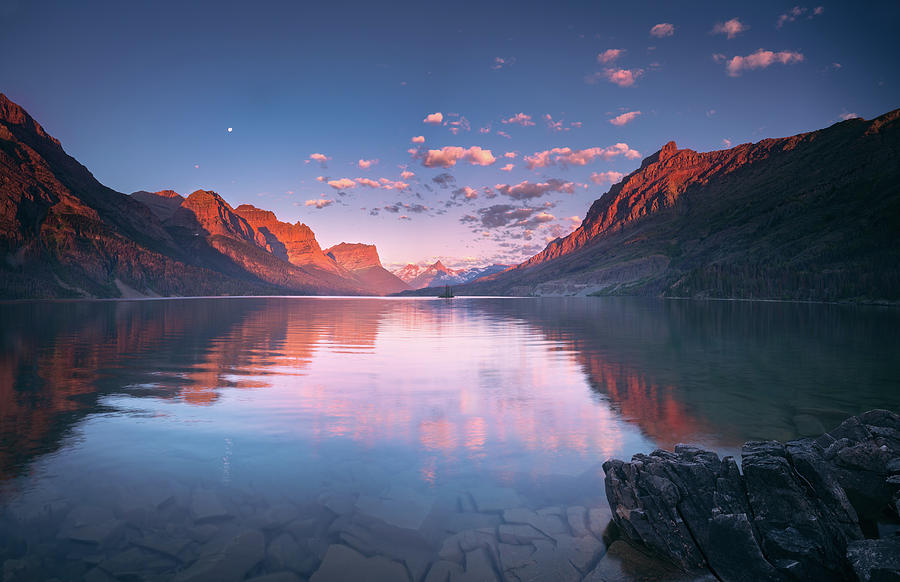 America Photograph - St Mary Lake In Early Morning With Moon by William Freebilly photography