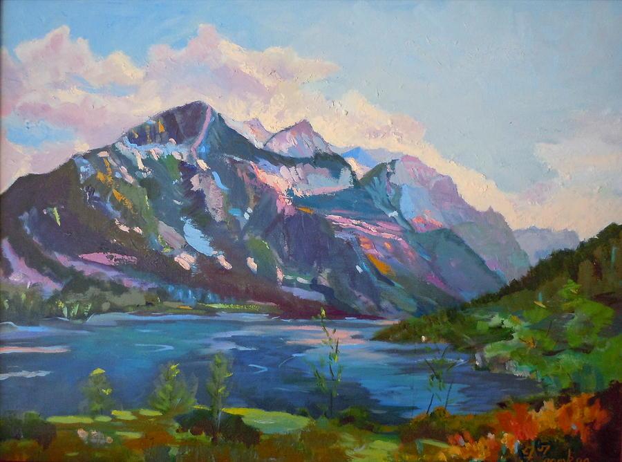 Landscape Painting - St. Marys Lake Glacier National Park by Francine Frank