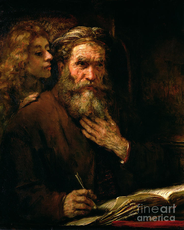 St. Matthew And The Angel Painting - St Matthew And The Angel by Rembrandt Harmensz van Rijn