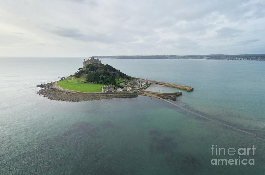 Mounts Bay Photograph - St Michaels Mount Aerial by Steev Stamford