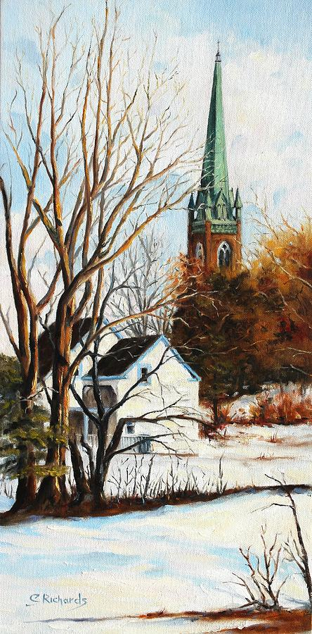Landscape Painting - St Michaels Spire In Winter by Cathleen Richards-Green