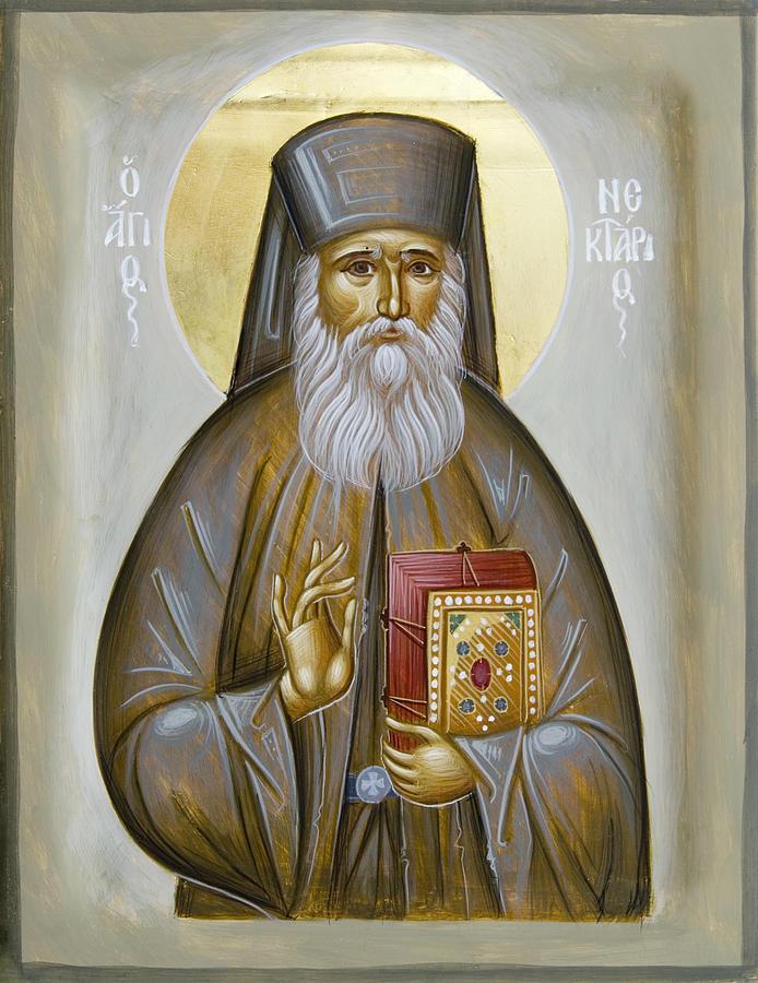 Icon Painting - St Nektarios Of Aigina by Julia Bridget Hayes