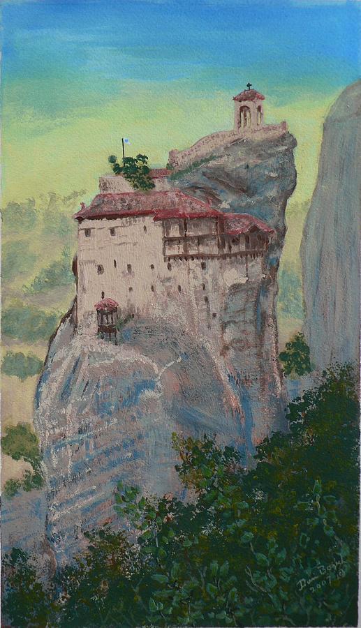 Landscape Painting - St Nicholas Anapapsas Monastery - Meteora - Greece by Dan Bozich