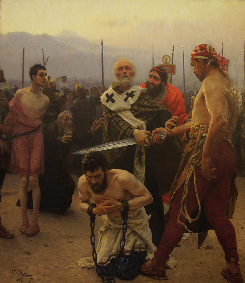 Ilya Repin Painting - St. Nicholas Saves Three Innocents from Death by Ilya Repin