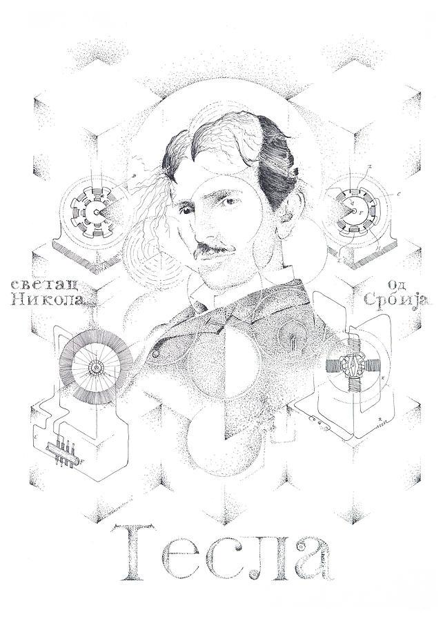 Nikola Tesla Drawing - St. Nikola Tesla of Serbia Sombra de Arreguin by Doug Johnson