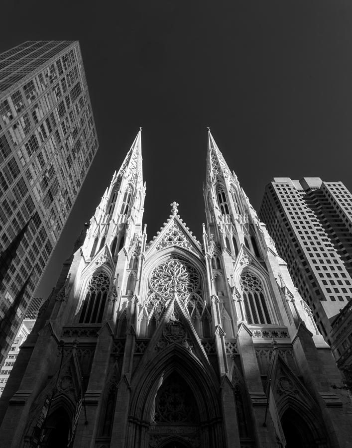 Black White Photograph - St Patricks Cathedral  by Dick Wood
