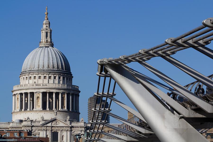 Millenium Photograph - St Pauls Cathedral And The Millenium Bridge  by David Pyatt