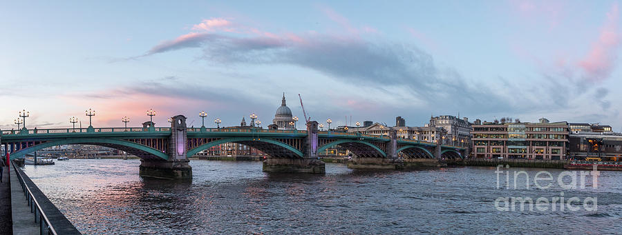 Anglican Cathedral Photograph - St. Pauls Cathedral Behind The Southwark Bridge During Sunset by PorqueNo Studios