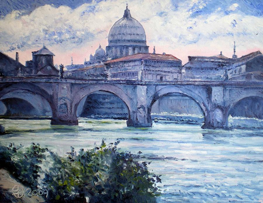 St Peter And Ponte San Angelo Rome Italy 2009 Painting by Enver Larney