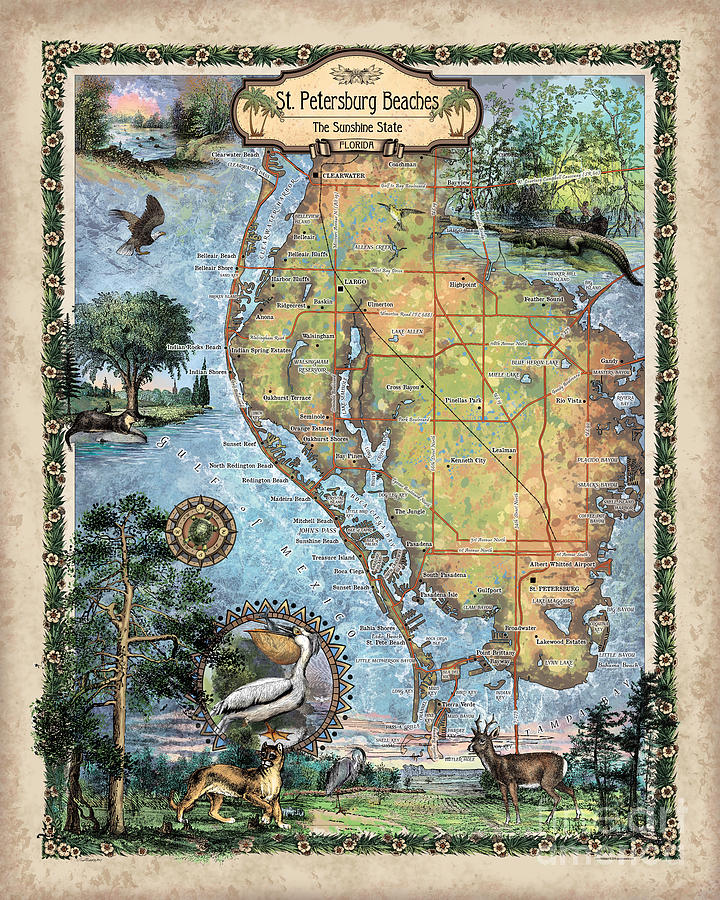Map St Petersburg Florida.St Petersburg Florida Map Tropical Decor Hand Painted Historic