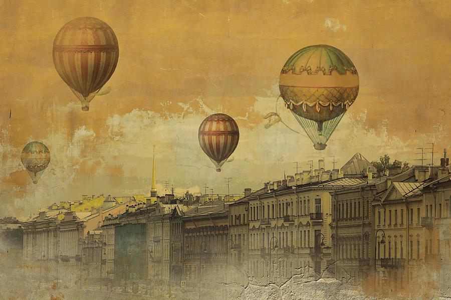 St Petersburg Digital Art - St Petersburg With Air Baloons by Jeff Burgess