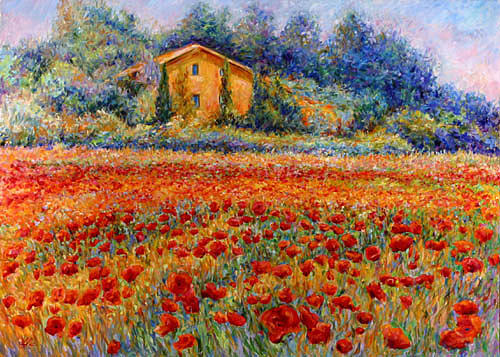 Landscape Painting - St Remy Poppies by Linda Lee