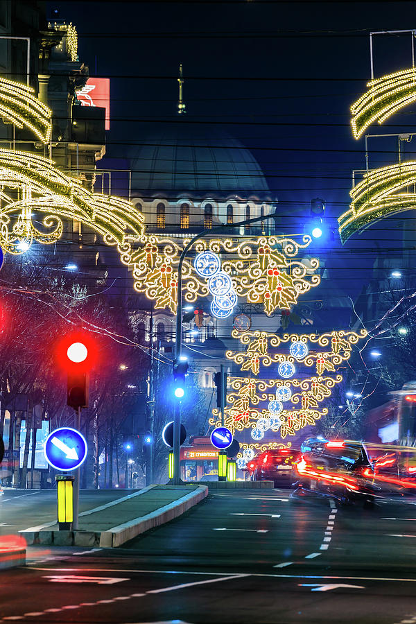 Magnificent Photograph - St. Sava Temple in Belgrade playing hide and seek with the Christmas decorations by Dejan Kostic