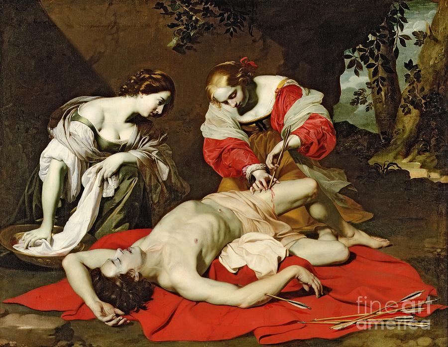Saint Painting - St Sebastian Tended By The Holy Irene by Nicholas Renieri