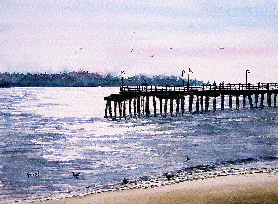 Fishing Painting - St. Simons Island Fishing Pier by Sam Sidders