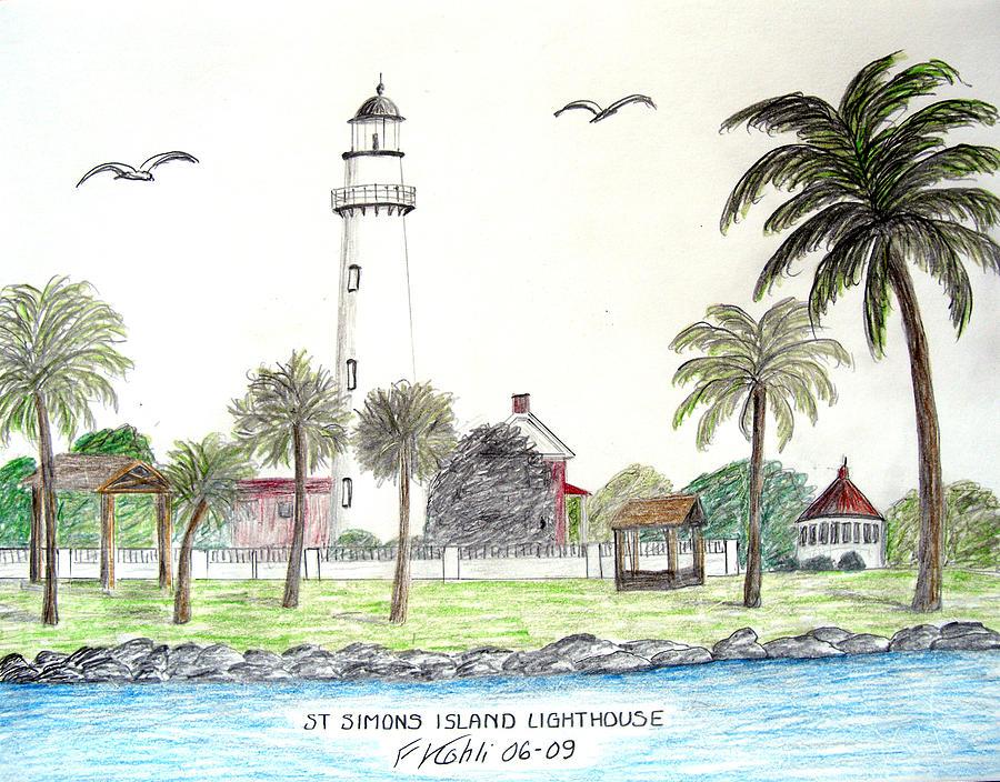 Landscape Drawings Drawing - St Simons Island Lighthouse  by Frederic Kohli
