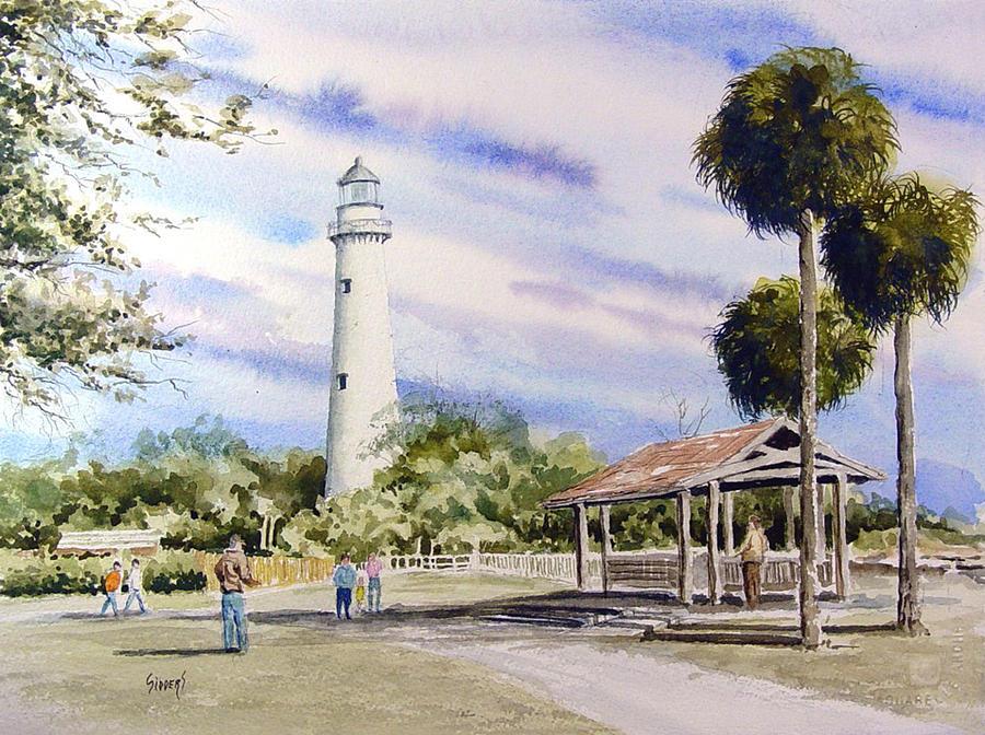Lighthouse Painting - St. Simons Island Lighthouse by Sam Sidders