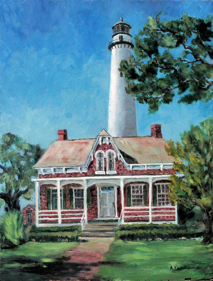 Lighthouse Painting - St. Simons Light by Albert Fendig