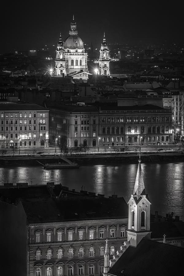 Joan Carroll Photograph - St Stephens Basilica Night Bw by Joan Carroll