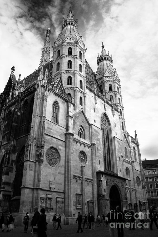 Arch photograph st stephens cathedral vienna in black and white by angela rath