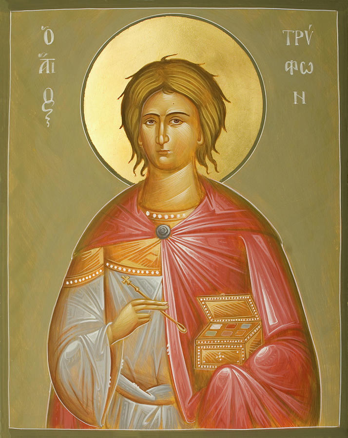 Icon Painting - St Tryphon by Julia Bridget Hayes