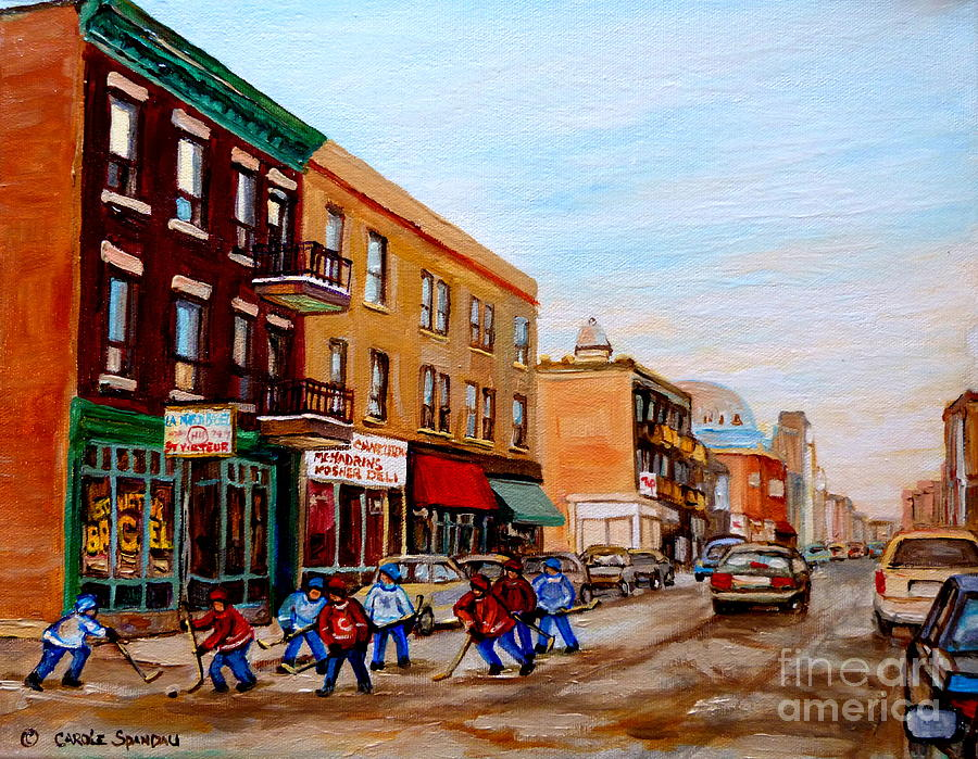 St.viateur Bagel Painting - St. Viateur Bagel Hockey Game by Carole Spandau