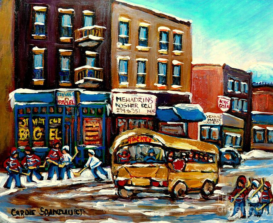 Montreal Painting - St. Viateur Bagel With Hockey Bus  by Carole Spandau