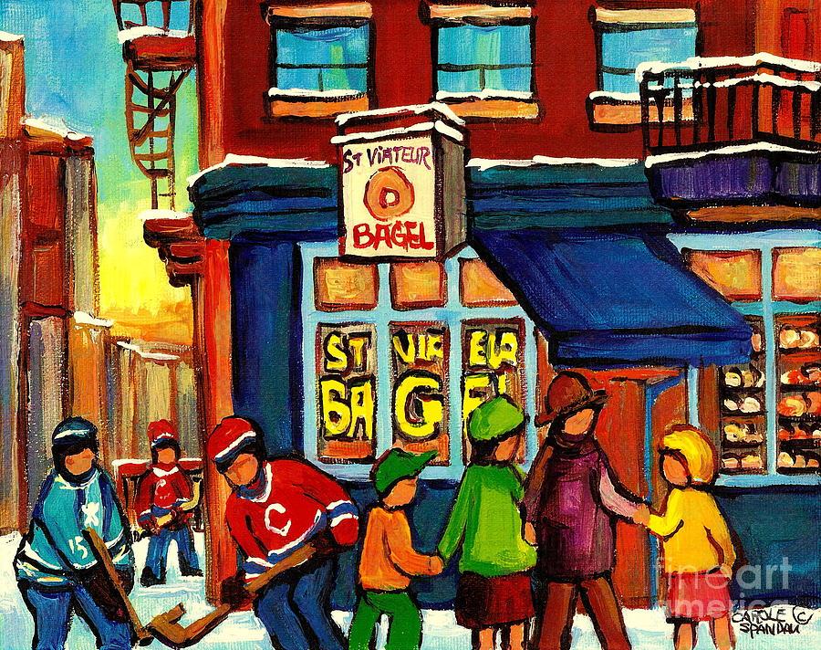 Monteeal Painting - St. Viateur Bagel With Hockey by Carole Spandau