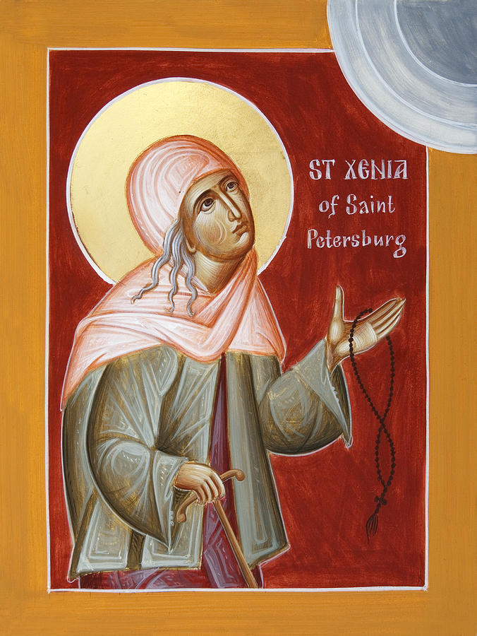 Icon Painting - St Xenia Of St Petersburg by Julia Bridget Hayes