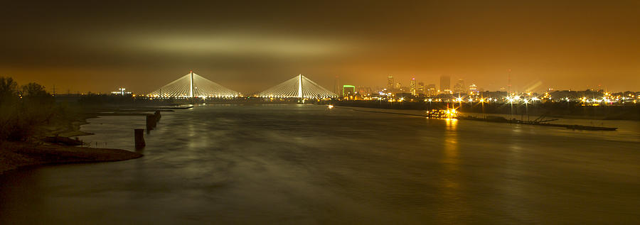 Arch Photograph - Sta Musial Bridge And St Louis Skyline by Garry McMichael