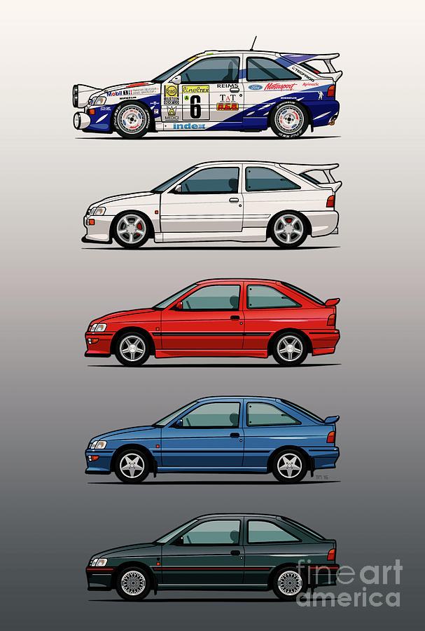 San Diego Digital Art - Stack Of Ford Escort Mk.5 Coupes by Monkey Crisis On Mars