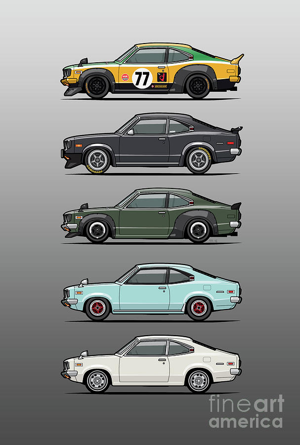 Car Digital Art - Stack Of Mazda Savanna Gt Rx-3 Coupes by Monkey Crisis On Mars
