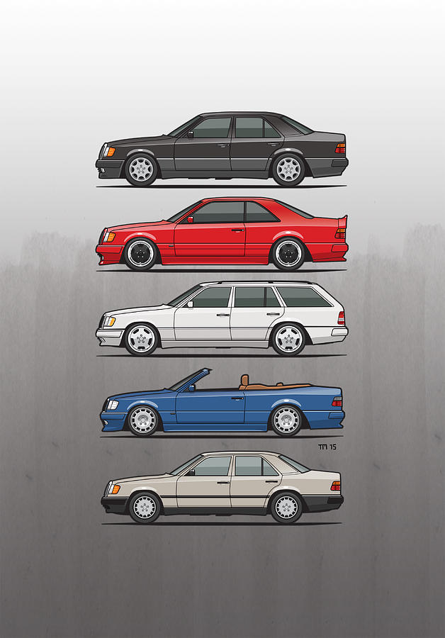 Mercedes Mixed Media - Stack Of Mercedes Benz W124 E-class by Monkey Crisis On Mars
