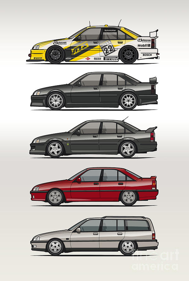 Auto Digital Art - Stack Of Opel Omegas Vauxhall Carlton A by Monkey Crisis On Mars