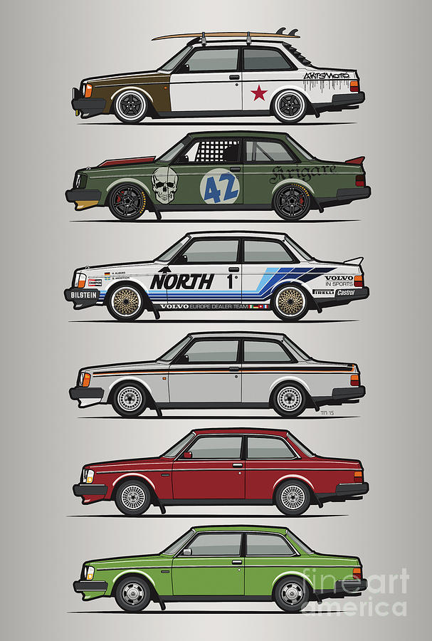 Coupe Digital Art - Stack Of Volvo 242 240 Series Brick Coupes by Monkey Crisis On Mars