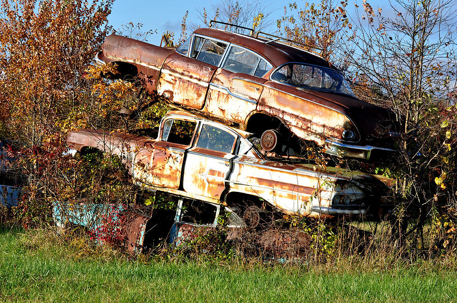 Cars Photograph - Stacking Them Up by Jan Amiss Photography