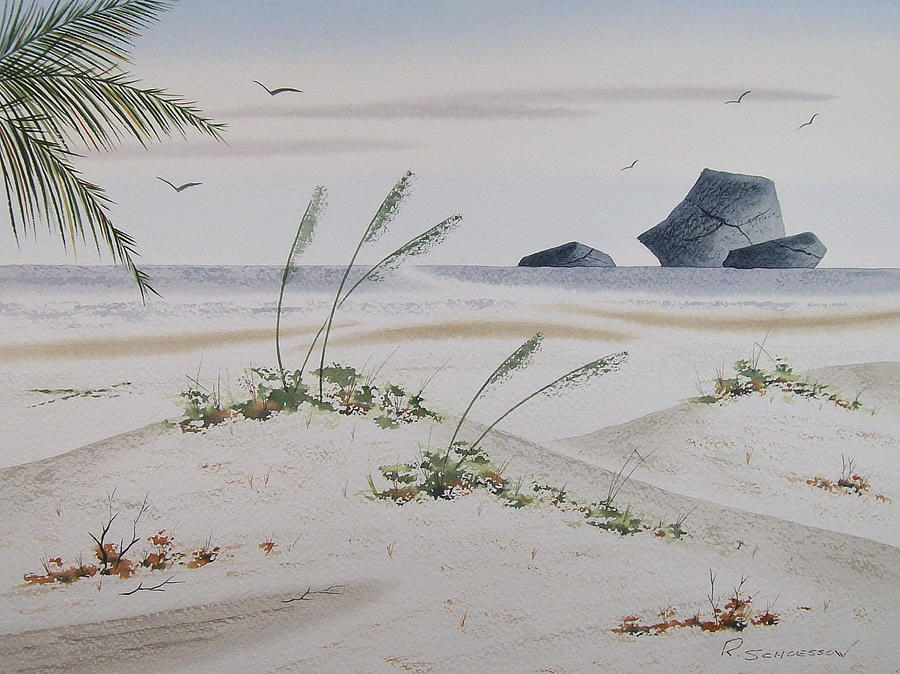 Seascape Painting - Stacks And Oats 1 by Richard Schoessow