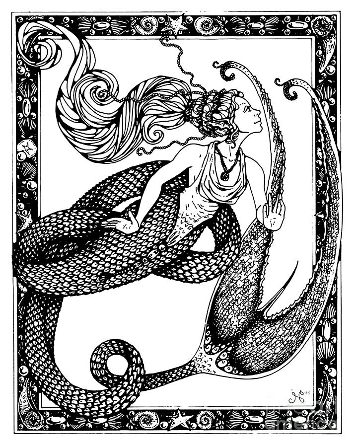 Mermaid Drawing - Staevia by Jaeme Case
