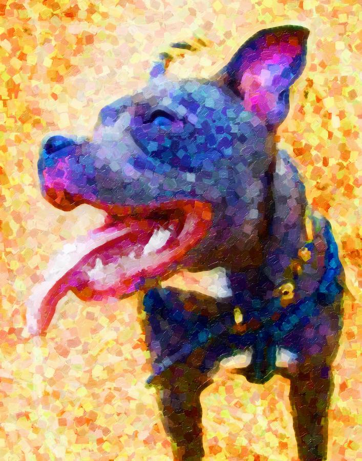 Staffordshire Bull Terrier Painting - Staffordshire Bull Terrier In Oil by Michael Tompsett
