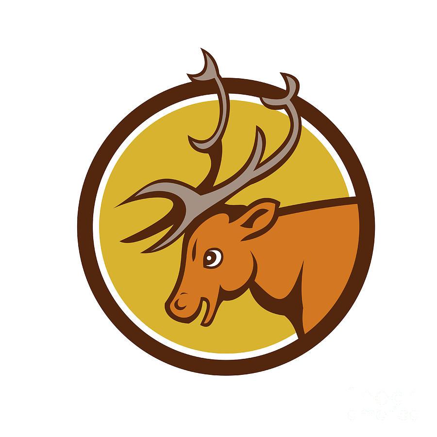 Stag Deer Buck Head Circle Cartoon Digital Art by Aloysius Patrimonio
