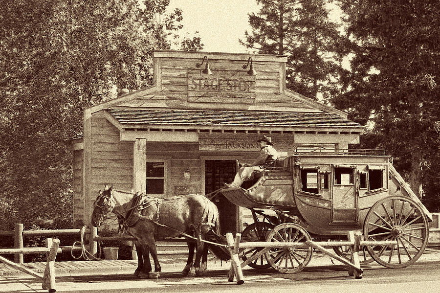 Authentic Photograph - Stage Coach Stop - Jackson Hole Wy by Christine Till