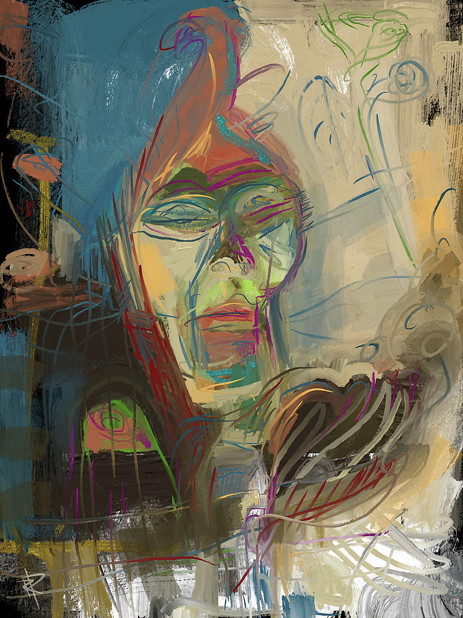 Abstract Portrait Mixed Media - Stage Fright by Russell Pierce
