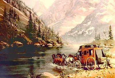 Stage Digital Art - Stagecoach River Crossing by Sharon Sharpe