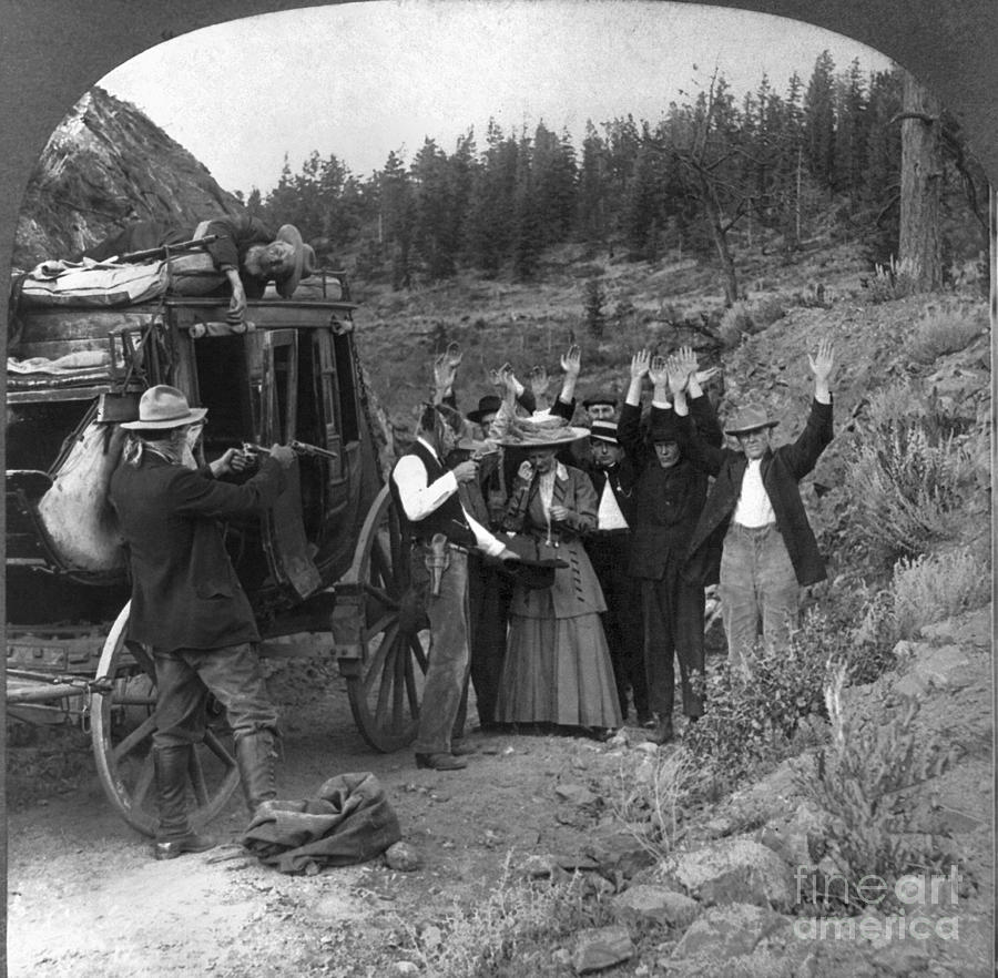 1911 Photograph - Stagecoach Robbery, 1911 by Granger