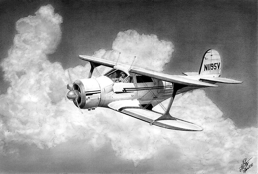 Airplane Drawing - Staggerwing by Lyle Brown