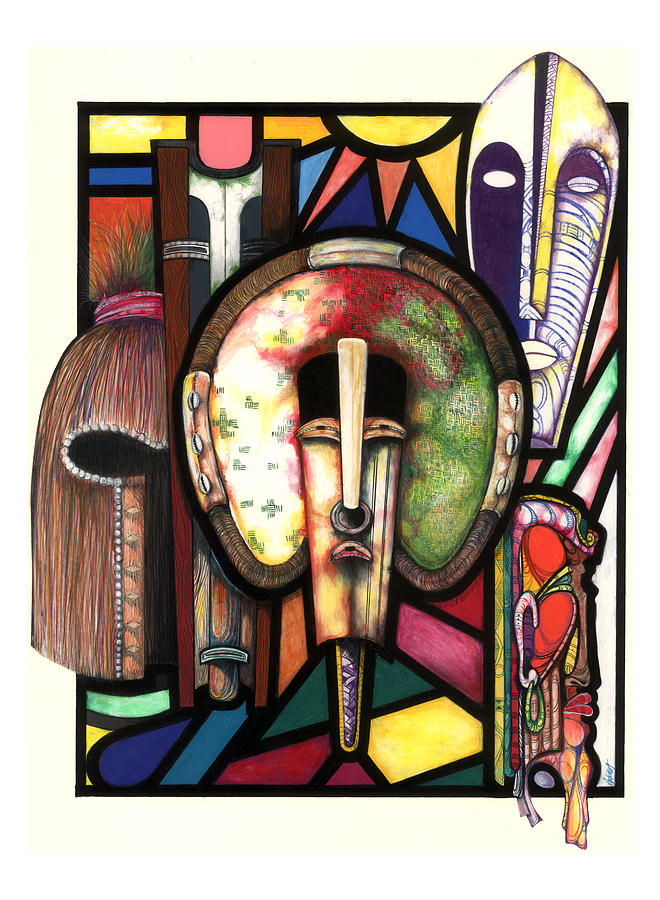 Stain Glass Drawing - Stain Glass by Anthony Burks Sr
