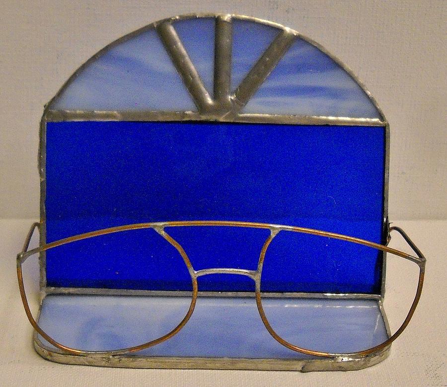 Stain glass eyeglasses business card holder glass art by leah delano stain glass glass art stain glass eyeglasses business card holder by leah delano reheart Images