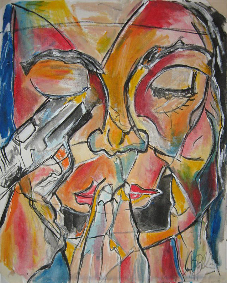 Stain Glass Painting - Stained Glass Assassinatiion by Jon Baldwin  Art