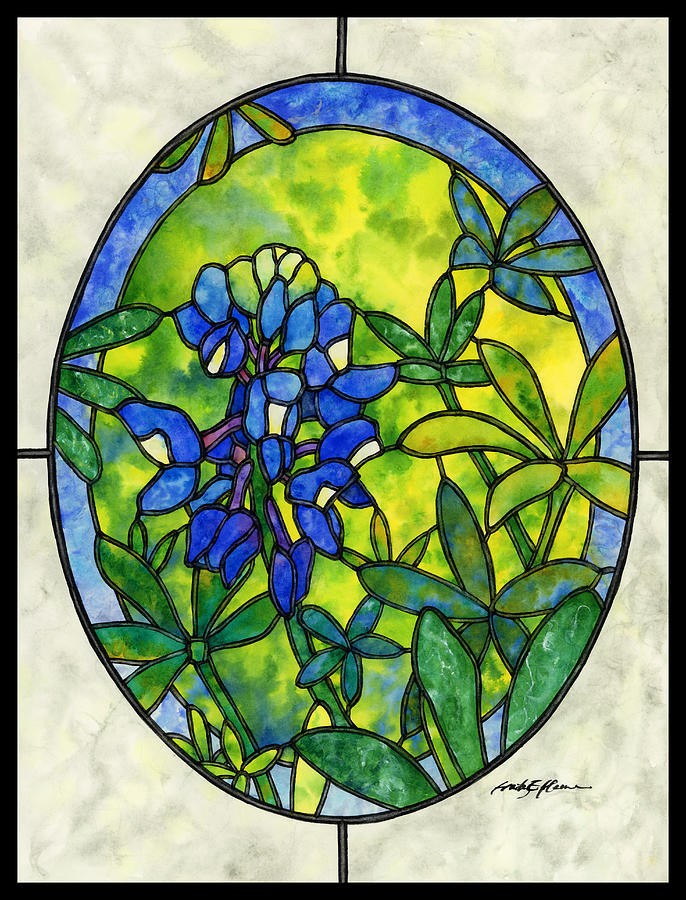 Stained Glass Painting - Stained Glass Bluebonnet by Hailey E Herrera